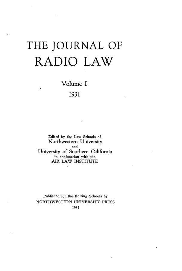 handle is hein.journals/jrl1 and id is 1 raw text is: THE JOURNAL OF