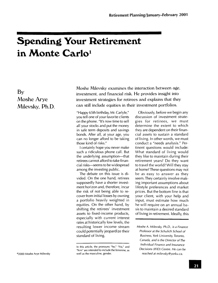 handle is hein.journals/jrlrp4 and id is 21 raw text is: Retirement Planning/January-February 2001