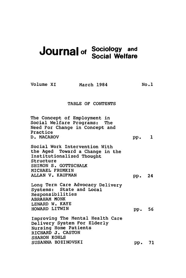 Sociology and social welfare?