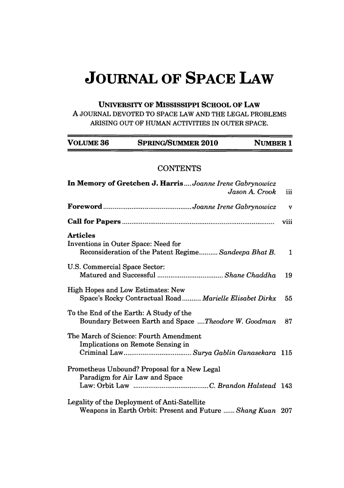handle is hein.journals/jrlsl36 and id is 1 raw text is: JOURNAL OF SPACE LAW