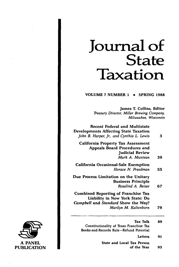 handle is hein.journals/jrnsttax7 and id is 1 raw text is: Journal of