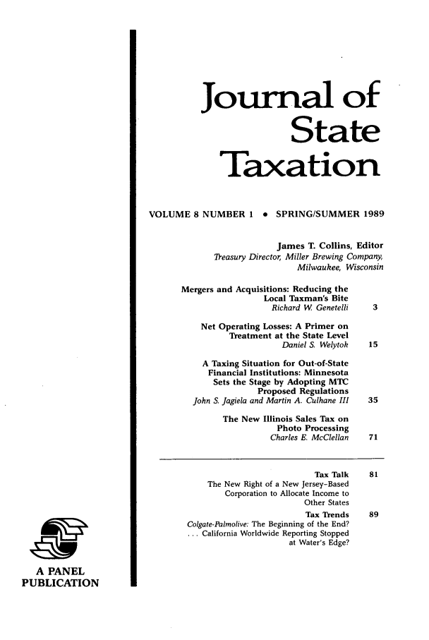handle is hein.journals/jrnsttax8 and id is 1 raw text is: A PANEL