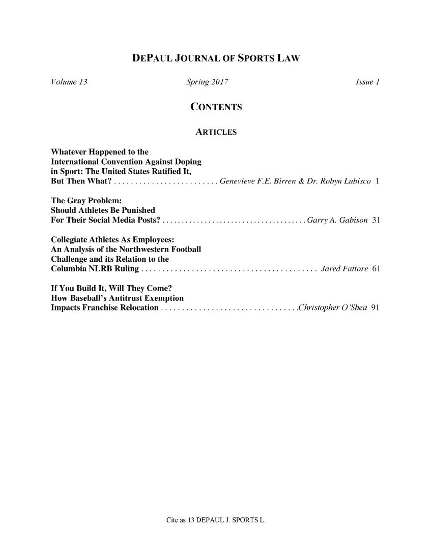 DePaul Journal of Sports Law And Contemporary Problems V  13
