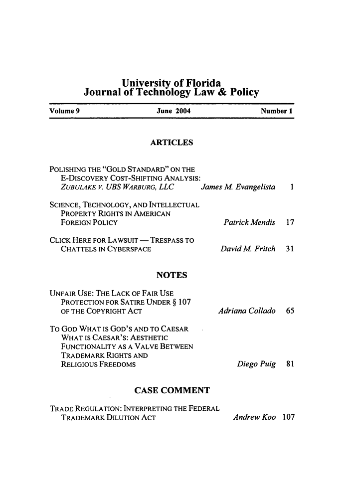 handle is hein.journals/jtlp9 and id is 1 raw text is: University of Florida