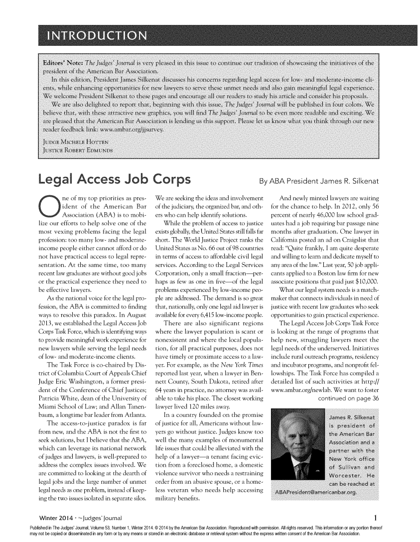 handle is hein.journals/judgej53 and id is 1 raw text is: LegA Access Job Corps