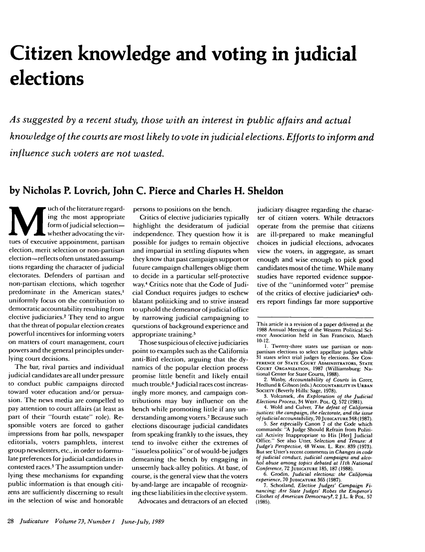 handle is hein.journals/judica73 and id is 30 raw text is: Citizen knowledge and voting in judicial