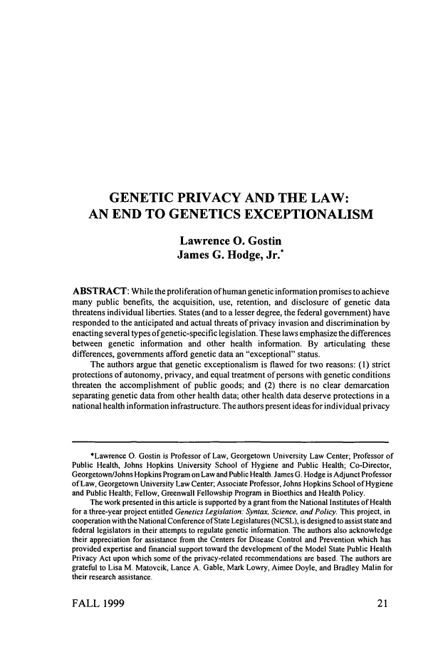handle is hein.journals/juraba40 and id is 33 raw text is: GENETIC PRIVACY AND THE LAW: