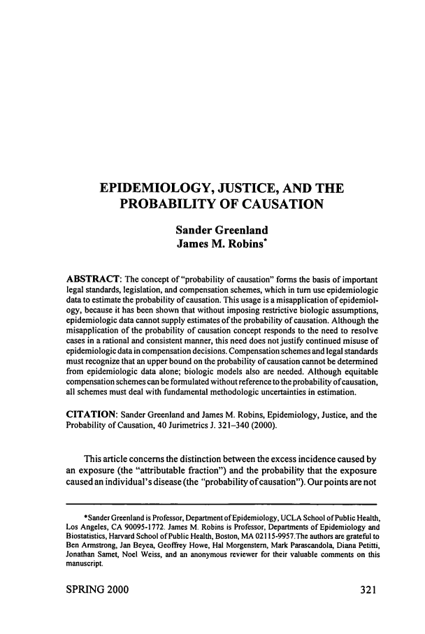 handle is hein.journals/juraba40 and id is 333 raw text is: EPIDEMIOLOGY, JUSTICE, AND THE