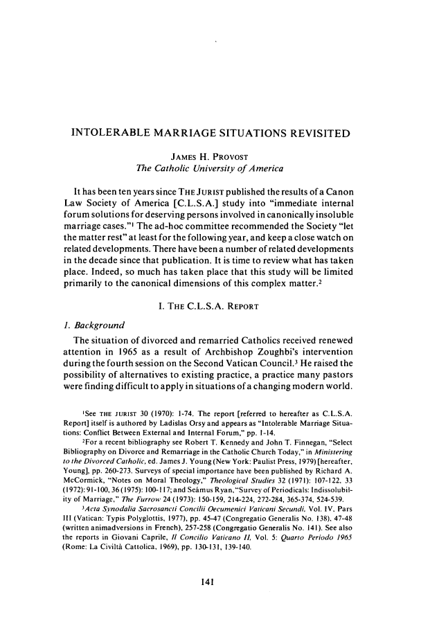 handle is hein.journals/juristcu40 and id is 147 raw text is: INTOLERABLE MARRIAGE SITUATIONS REVISITED