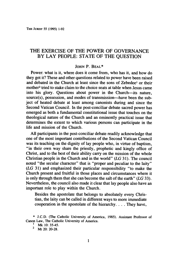 handle is hein.journals/juristcu55 and id is 9 raw text is: THE JURIST 55 (1995) 1-92