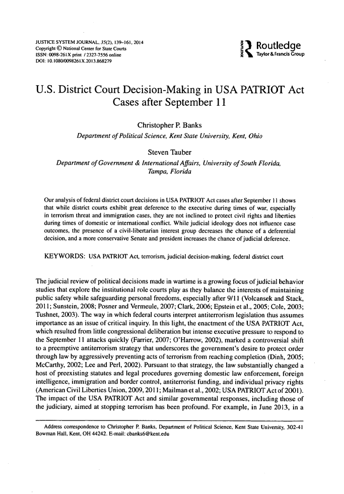 New Federal Court Decision Should Be >> U S District Court Decision Making In Usa Patriot Act Cases After