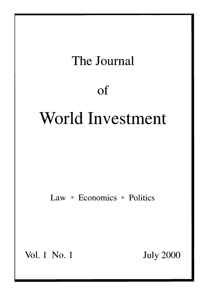 handle is hein.journals/jworldit1 and id is 1 raw text is: The Journal