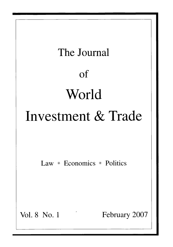 handle is hein.journals/jworldit8 and id is 1 raw text is: The Journal