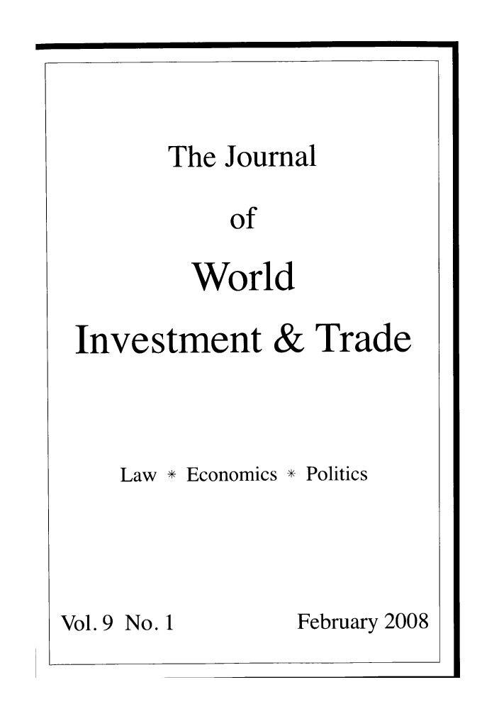 handle is hein.journals/jworldit9 and id is 1 raw text is: The Journal