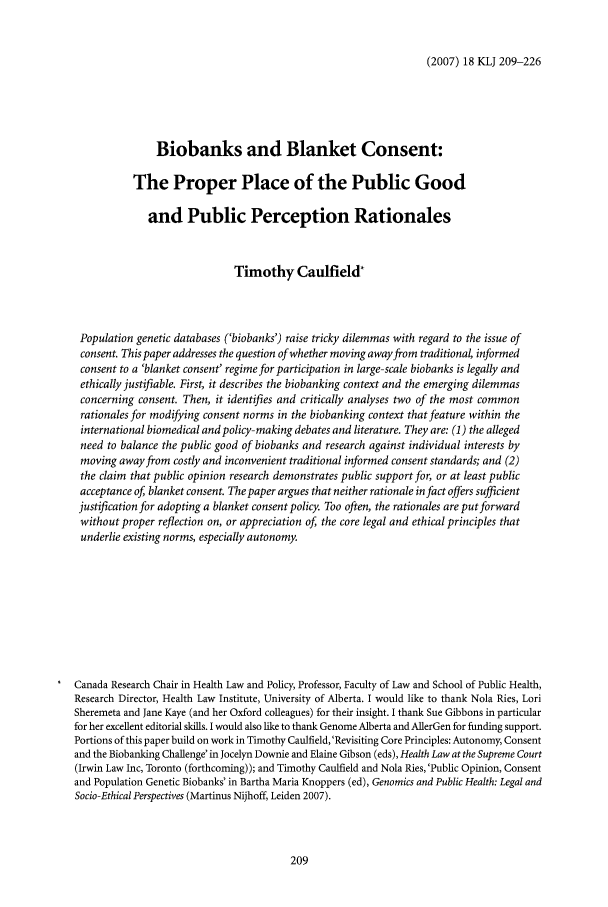 handle is hein.journals/kingsclj18 and id is 209 raw text is: (2007) 18 KLJ 209-226