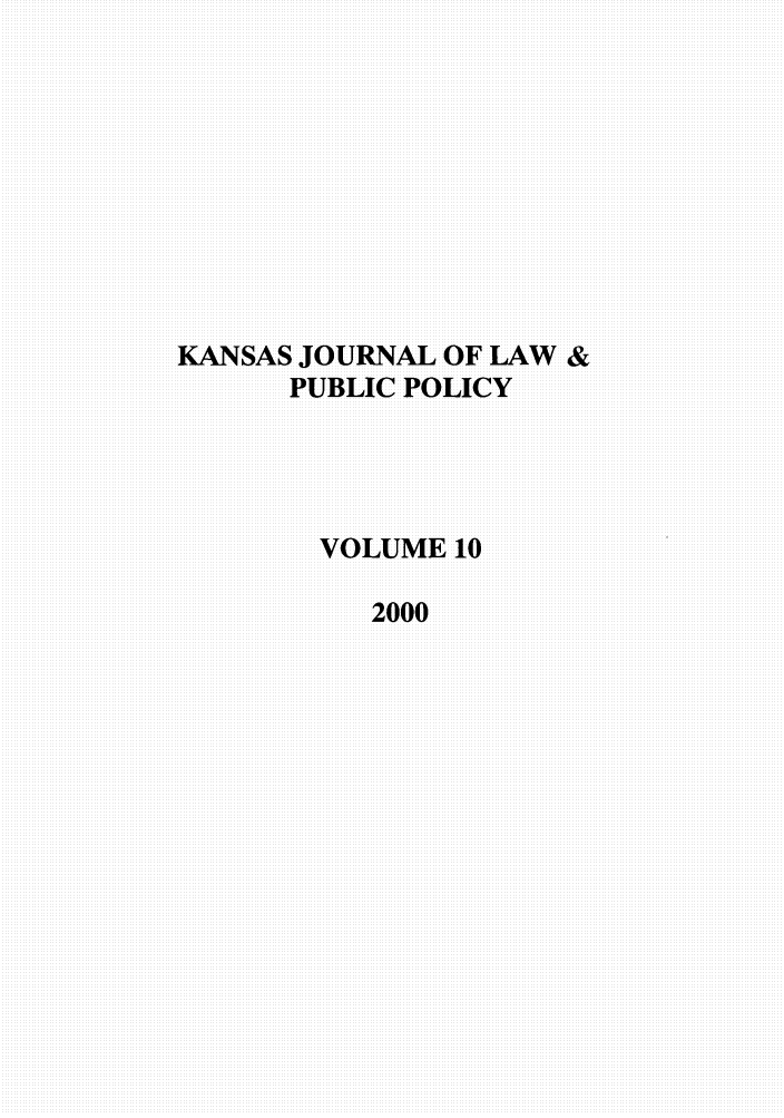 handle is hein.journals/kjpp10 and id is 1 raw text is: KANSAS JOURNAL OF LAW &