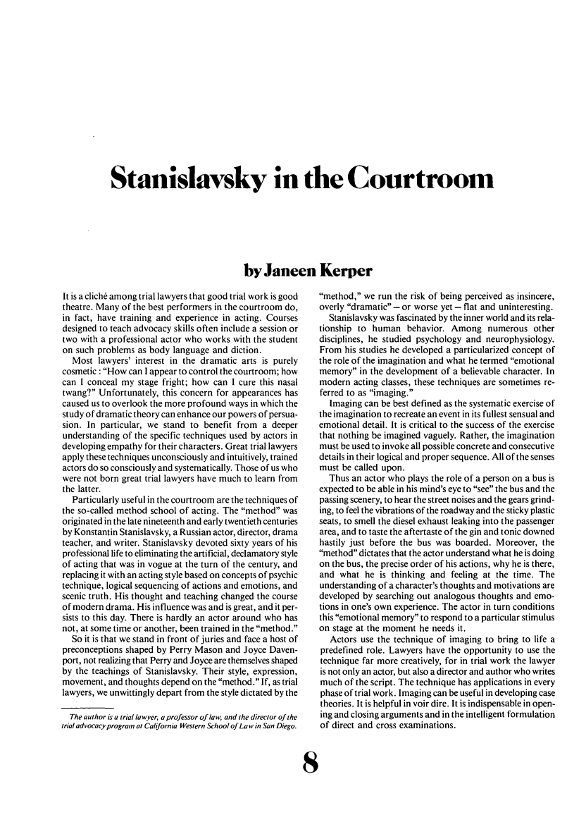 handle is hein.journals/laba10 and id is 206 raw text is: Stanislavsky in the Courtroom