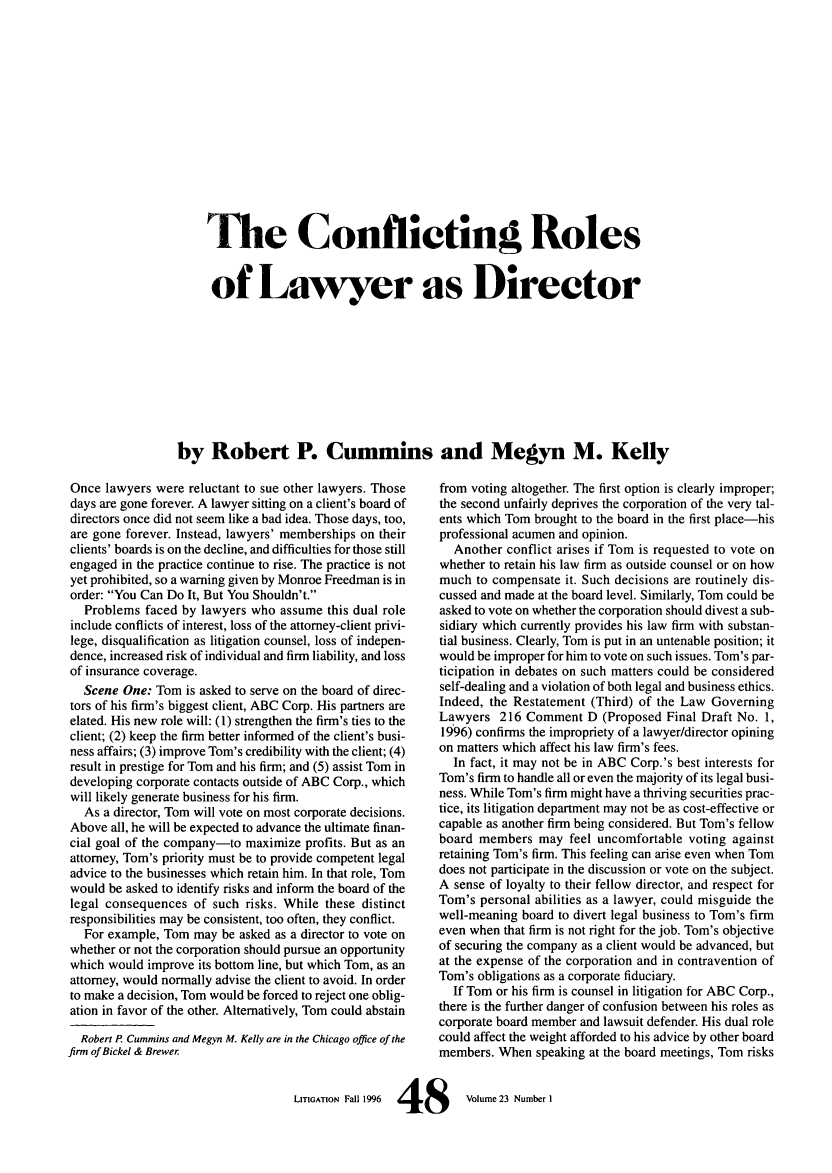 handle is hein.journals/laba23 and id is 52 raw text is: 'Me Conflicting Roles