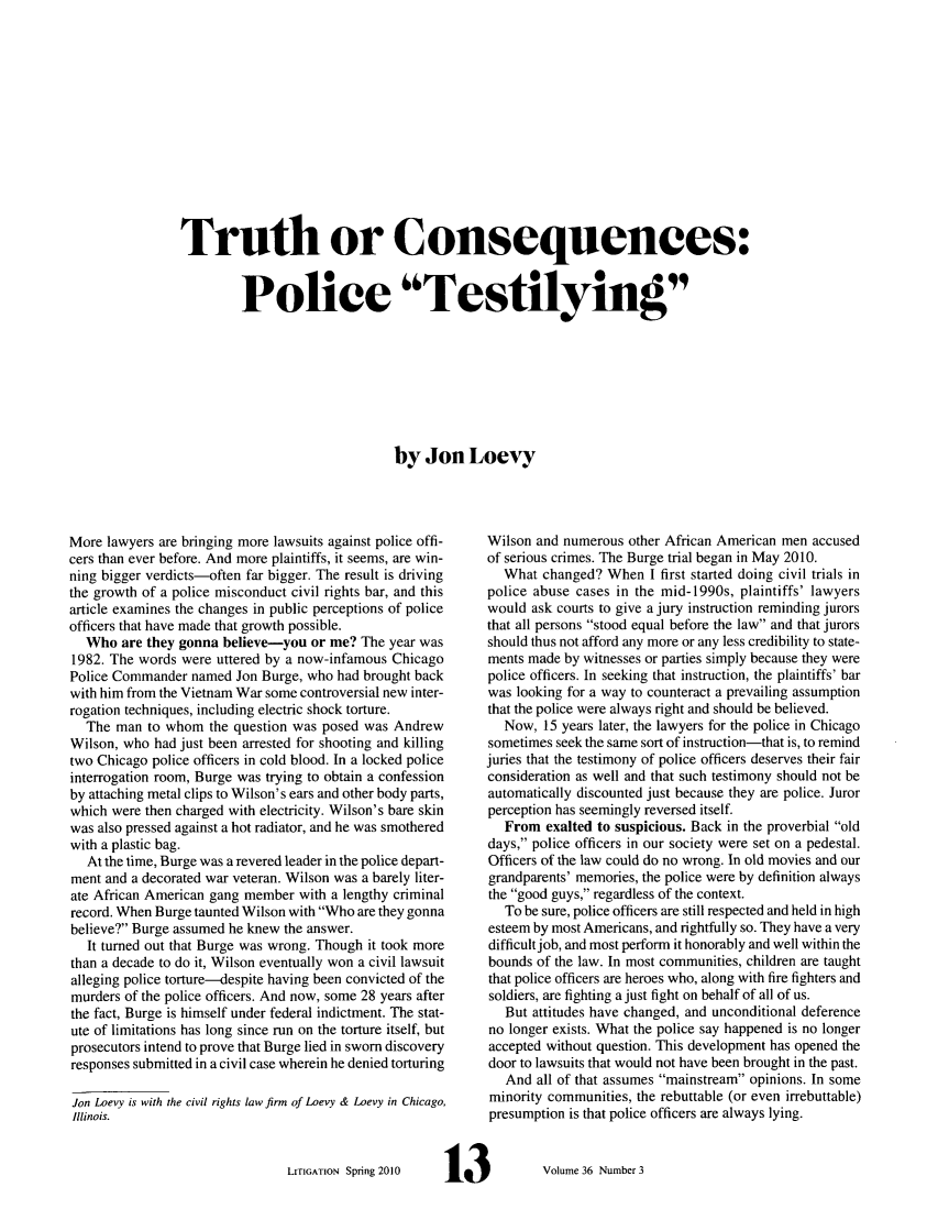 handle is hein.journals/laba36 and id is 151 raw text is: Truth or Consequences: