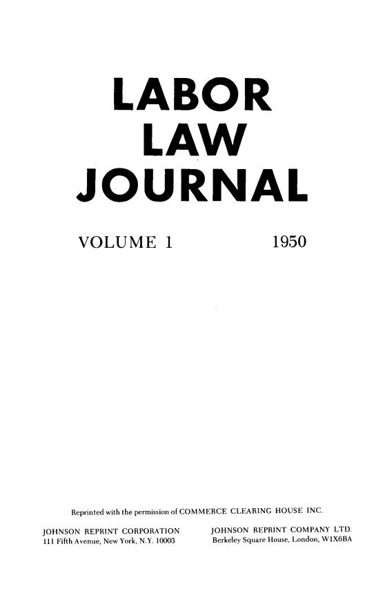 handle is hein.journals/labljo1 and id is 1 raw text is: LABOR