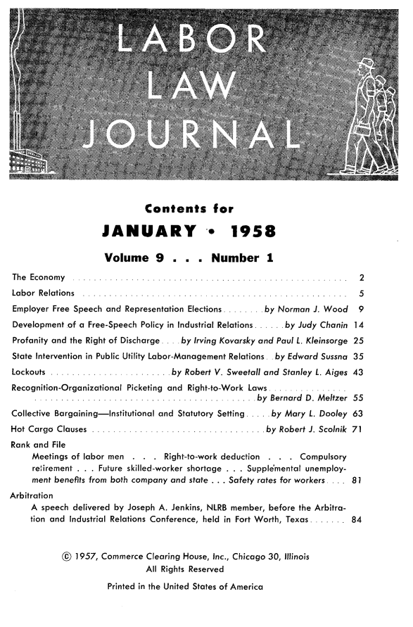 handle is hein.journals/labljo9 and id is 1 raw text is: Contents for