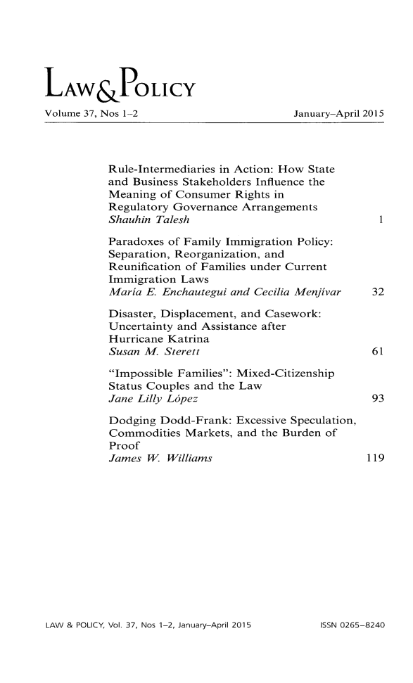 handle is hein.journals/lawpol37 and id is 1 raw text is: 