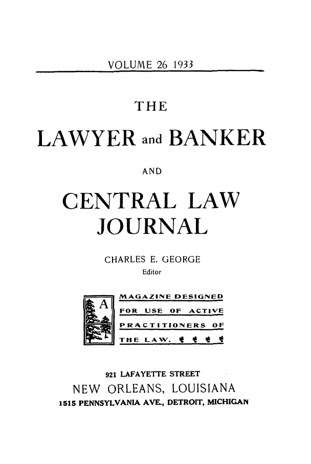 handle is hein.journals/lbancelj26 and id is 1 raw text is: VOLUME 26 1933