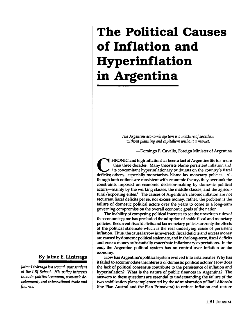 The Political Causes of Inflation and Hyperinflation in
