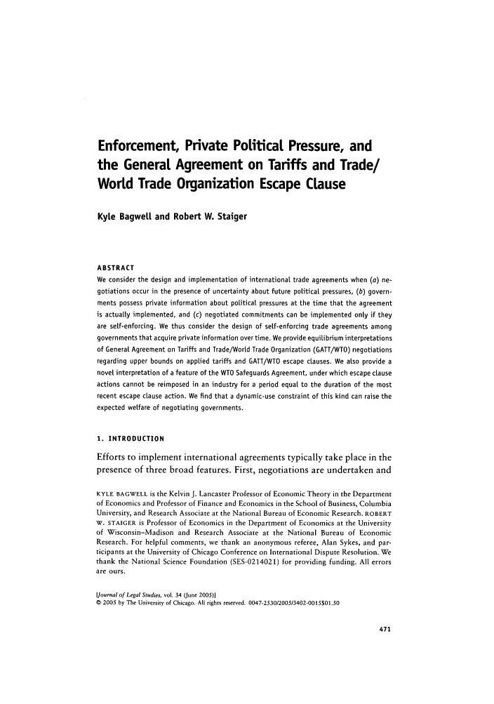Enforcement Private Political Pressure And The General Agreement