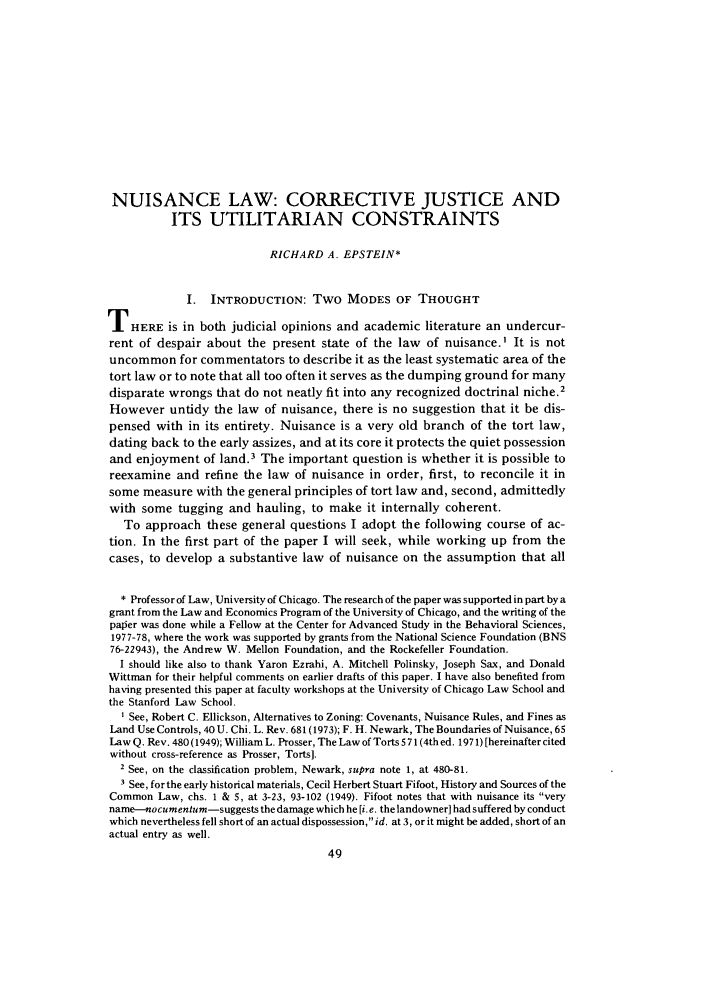 handle is hein.journals/legstud8 and id is 79 raw text is: NUISANCE LAW: CORRECTIVE JUSTICE AND