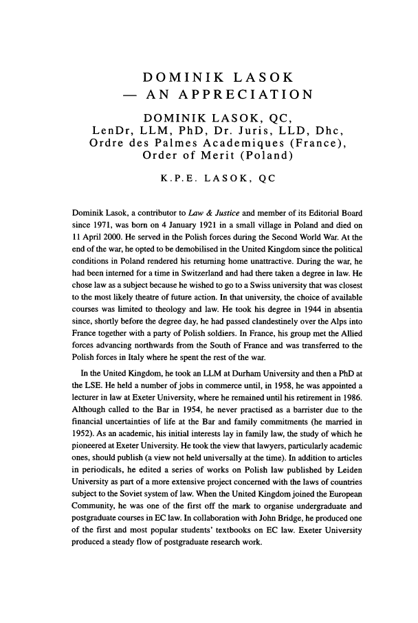 handle is hein.journals/ljusclr145 and id is 6 raw text is: DOMINIK LASOK