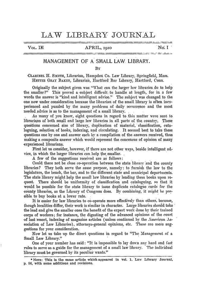 handle is hein.journals/llj3 and id is 7 raw text is: LAW LIBRARY JOURNAL-