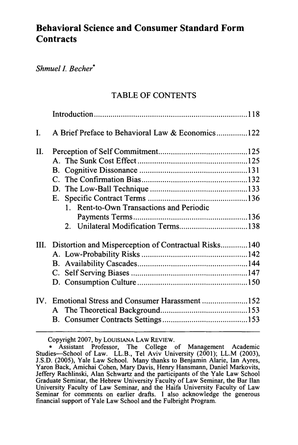 Behavioral Science And Consumer Standard Form Contracts 68 Louisiana