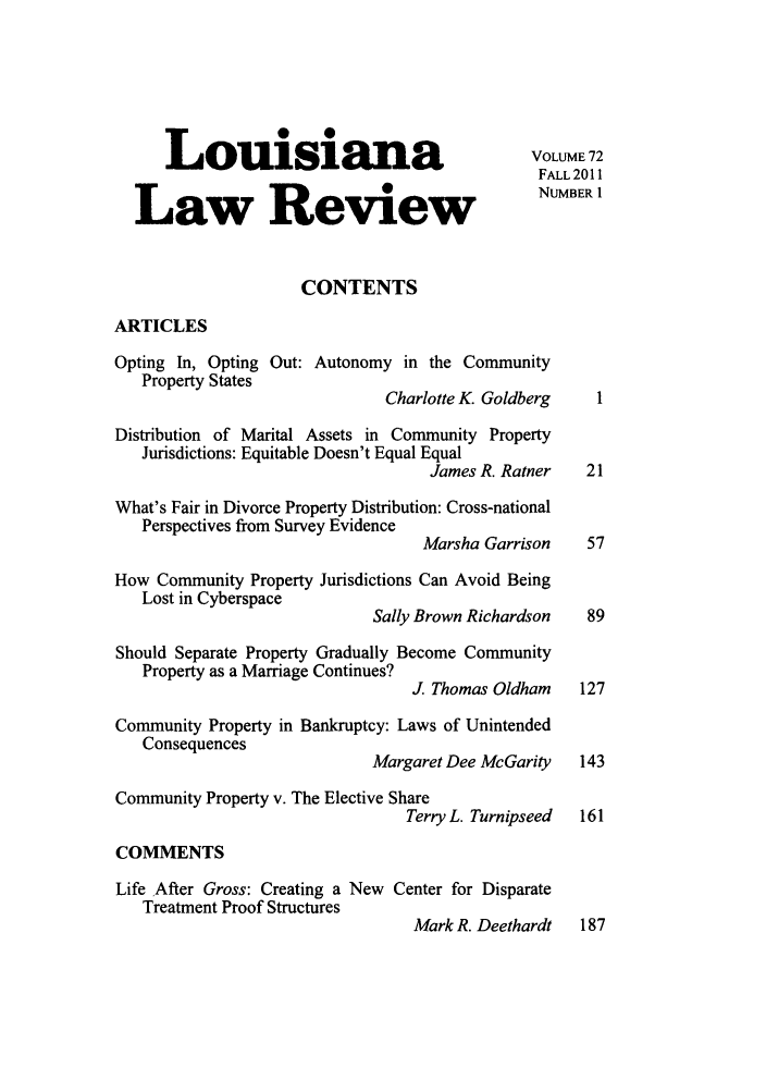 handle is hein.journals/louilr72 and id is 1 raw text is: Louisiana                                  VOLUME72