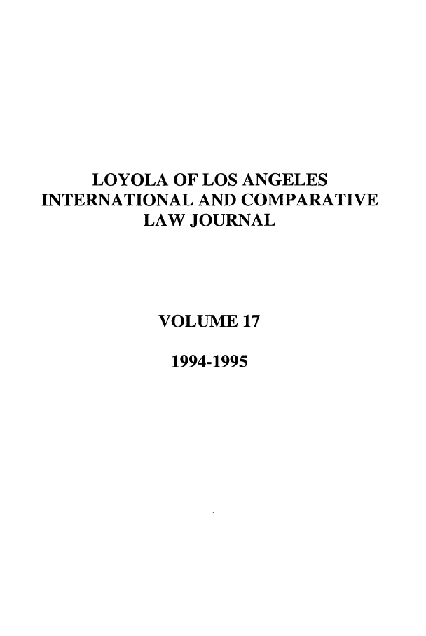 handle is hein.journals/loyint17 and id is 1 raw text is: LOYOLA OF LOS ANGELES
