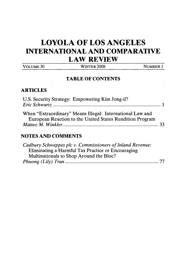 handle is hein.journals/loyint30 and id is 1 raw text is: LOYOLA OF LOS ANGELES
