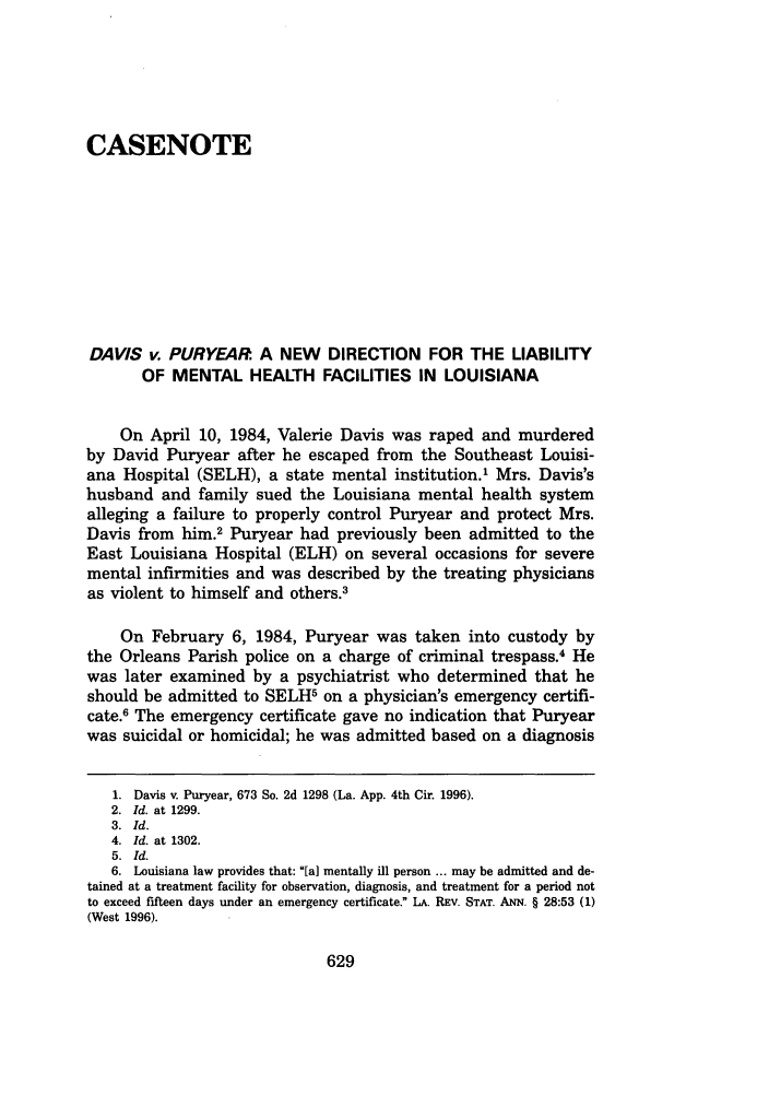 Davis V Puryear A New Direction For The Liability Of Mental Health