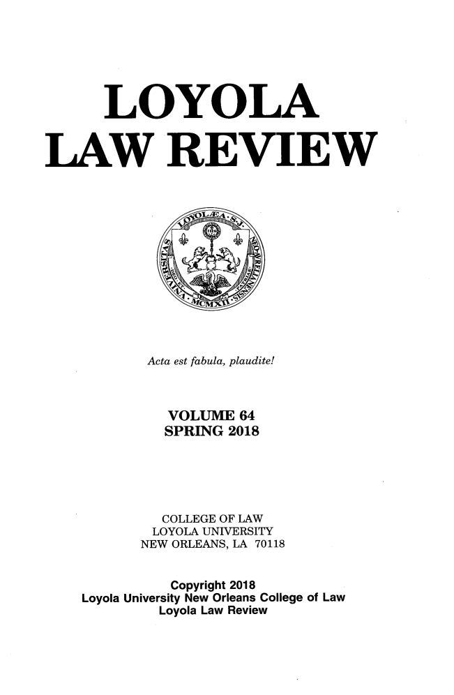 handle is hein.journals/loyolr64 and id is 1 raw text is: 