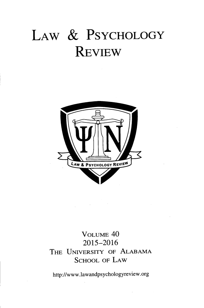 handle is hein.journals/lpsyr40 and id is 1 raw text is: 