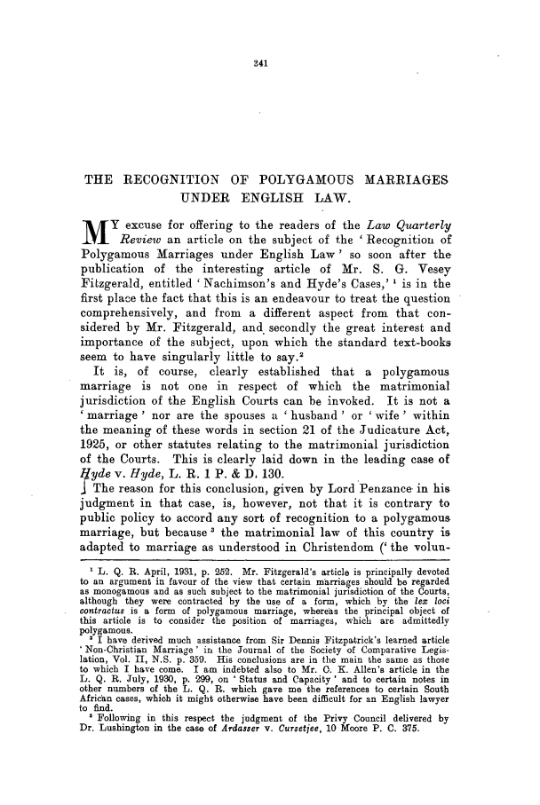 48 Law Quarterly Review 1932 Recognition of Polygamous Marriages ...