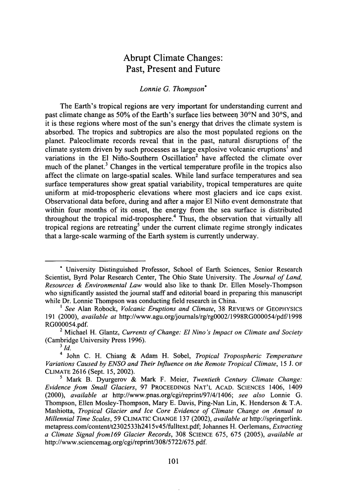 abrupt climate changes past present and future symposium essay   handle is heinjournalslrel and id is  raw text is abrupt