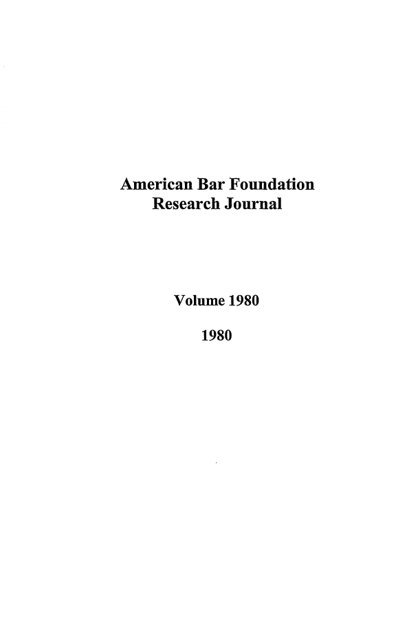 handle is hein.journals/lsociq1980 and id is 1 raw text is: American Bar Foundation