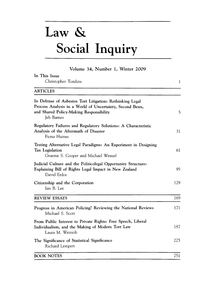 handle is hein.journals/lsociq34 and id is 1 raw text is: Law &