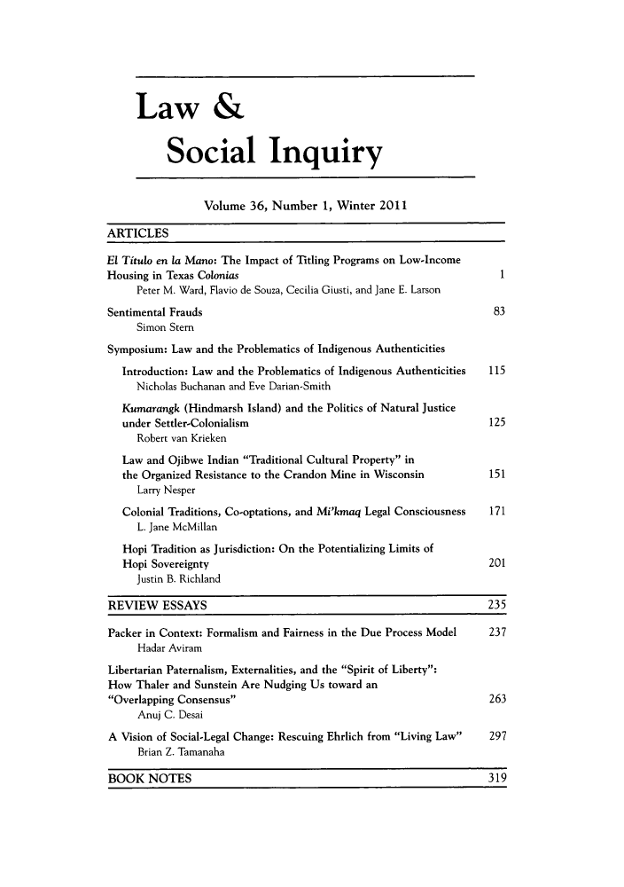 handle is hein.journals/lsociq36 and id is 1 raw text is: Law &