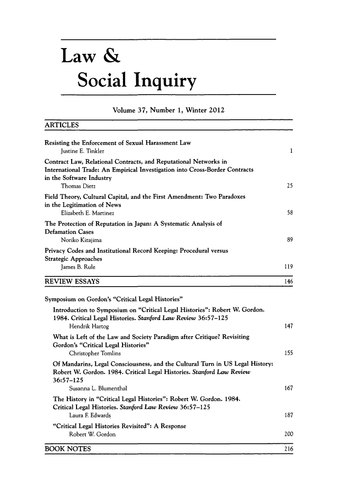 handle is hein.journals/lsociq37 and id is 1 raw text is: Law &