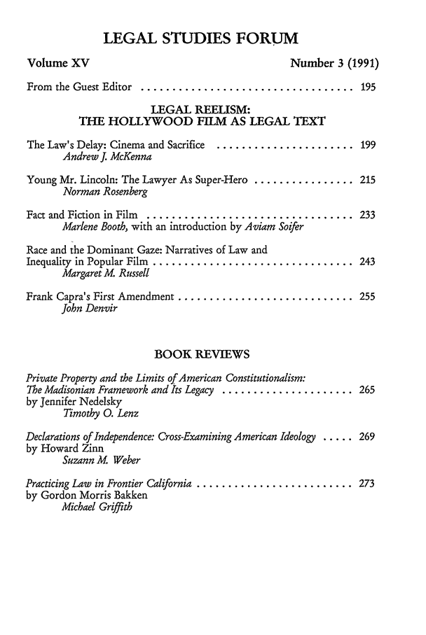 handle is hein.journals/lstf15 and id is 7 raw text is: LEGAL STUDIES FORUM