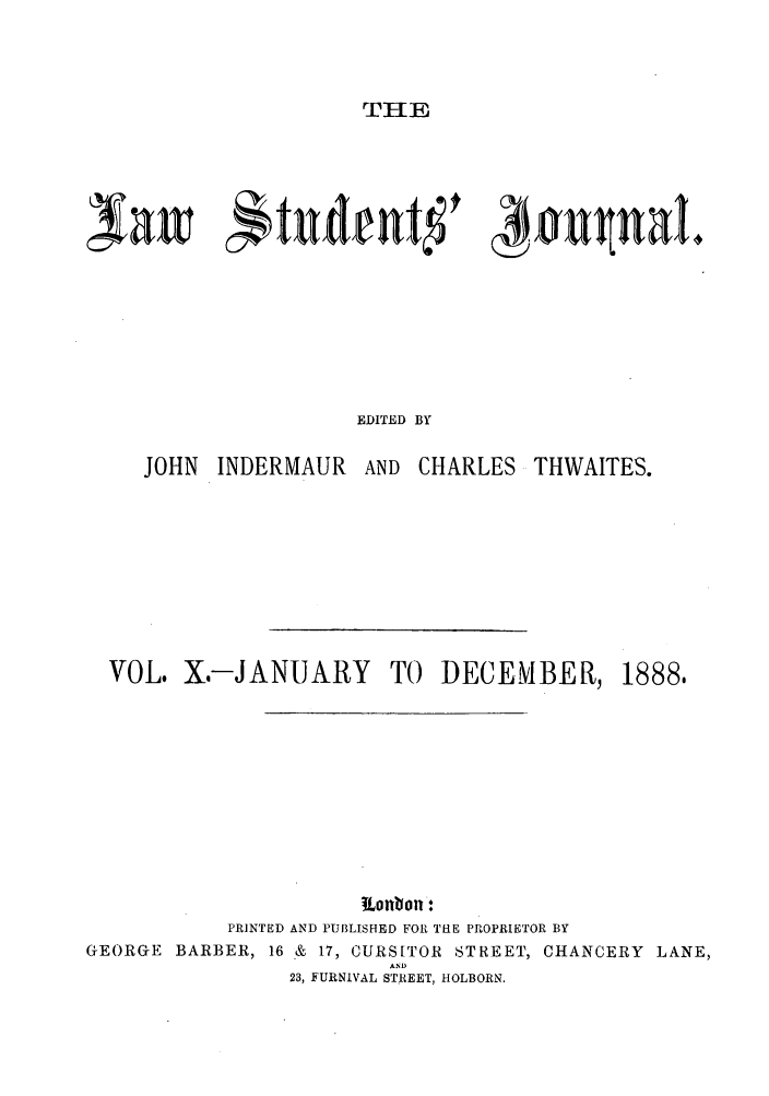handle is hein.journals/lstujou10 and id is 1 raw text is: THE