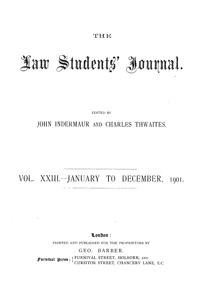 handle is hein.journals/lstujou23 and id is 1 raw text is: THE