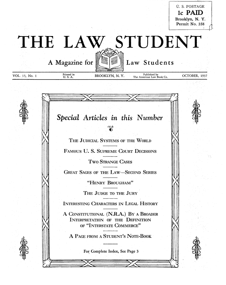 handle is hein.journals/lwstud15 and id is 1 raw text is: U. S. POSTAGE