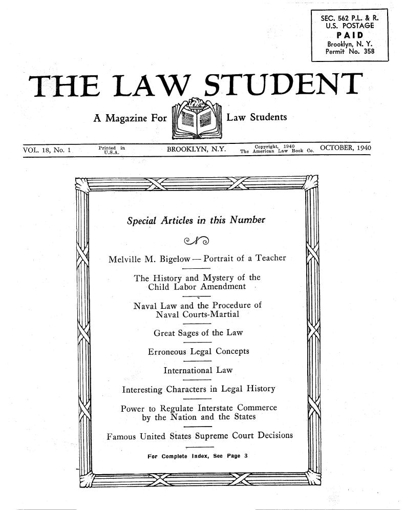 handle is hein.journals/lwstud18 and id is 1 raw text is: THE LAW STUDENT